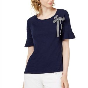 Jadore Grommer Ribbon Top Blue Notte